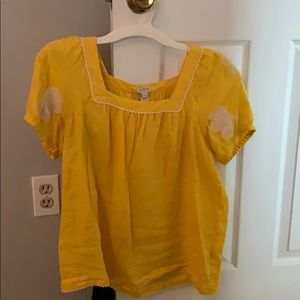 J Crew yellow peasant top size small